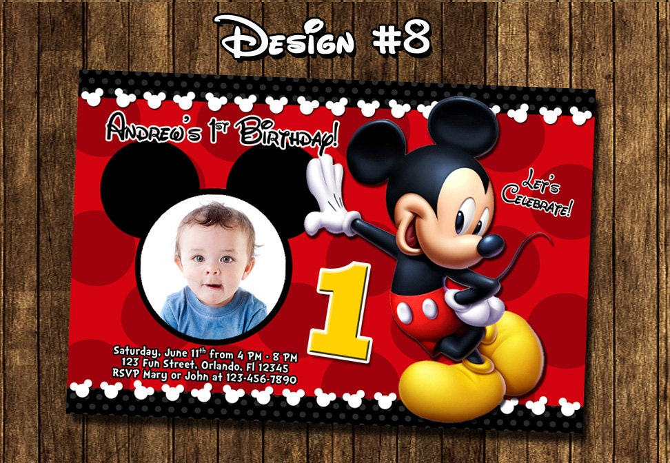 Mickey Mouse Baby First Birthday Party Photo Invitations Etsy