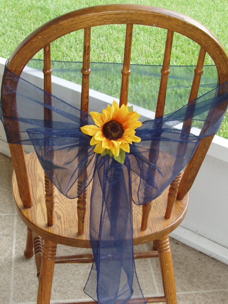 Blue Custom Order Wedding Decorations Other Colors ORGANZA CHAIR SASHES With Flowers Reception Chair Bows Green Set of 48 Purple