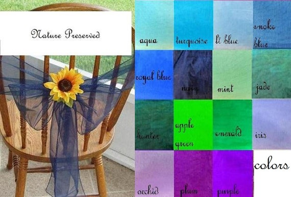 Organza Chair Sashes With Flowers Blue Green Purple Wedding Decorations Reception Chair Bows Set Of 12 Custom Order Other Colors