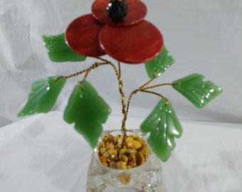 Handcrafted red poppy flower