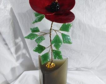 Red Poppy/Handcrafted Red Poppy Flower/Shell Poppy