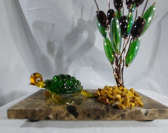 Glass Turtle under Cattails, great Father's day gift