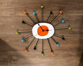 23 STARBURST Mid Century Modern clock. These are custom hand made wall Clocks. In the retro style of a George Nelson Ball Clock.