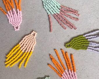 Handmade Beaded Fringe Earrings - Custom Color Options   Beadweaving   Color Block