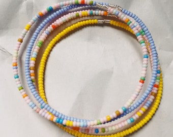 Multicolor Pastel Seed Bead Bracelet Set of Five, Plus Sizes Available, Black Owned Etsy Shops