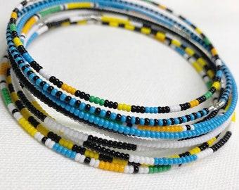 Color Block Beaded Bangle Set of 10 -  Handmade Jewelry - Unisex Bracelets