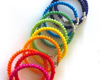 Beaded Stacking Ring Set of 10 - Rainbow Colors - Pride- Custom Sizes - Plus Size Rings