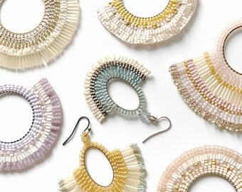 Handwoven Beaded Hoop Earrings   Pastel Fan Earrings   Boho Earrings