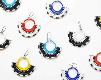 Color Blocking Beaded Fan Earrings - Masai Inspired Handmade Jewelry - Mother's Day Gifts