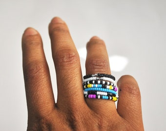Colorful CMYK Beaded Knuckle Band Ring Set of 7
