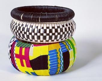 African Block Print Fabric Wrap Bangle Set of Three - Woven Reed Checker Bracelet - Hemp Bangle