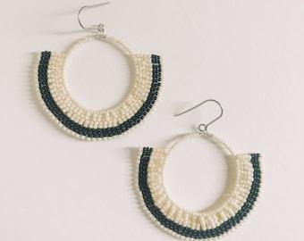 Black and Ivory Bead Woven Miyuki Geometric Fan Earrings