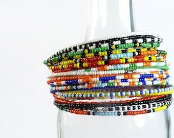 Assorted Masai-Inspired Beaded Bangles