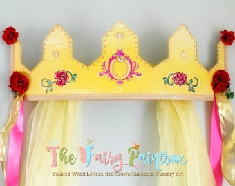 Beauty & the Beast Princess Bed Crown Canopy, Enchanted Rose Baby Crown, Princess Wall Crown, Sparkle Curtains, Crown Centerpiece Photo Prop