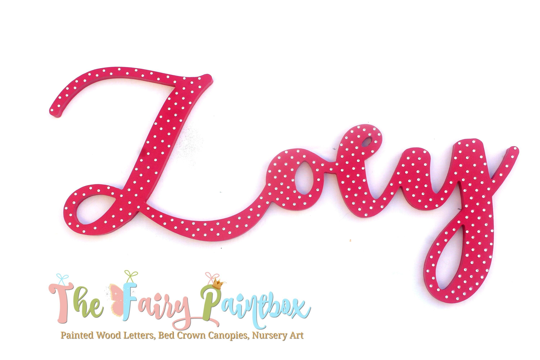 Crystal Girls Nursery Wall Letters Dark Pink Wood Wall   Etsy