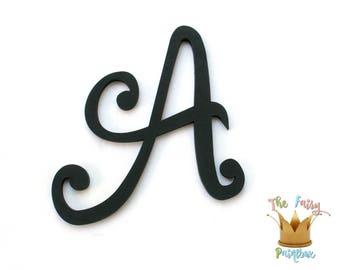Black Script Painted Letters, Script Nursery Letters, Black Wedding Letters, Black Wood Wall Letters, Black Monogram, Black Prop Letters