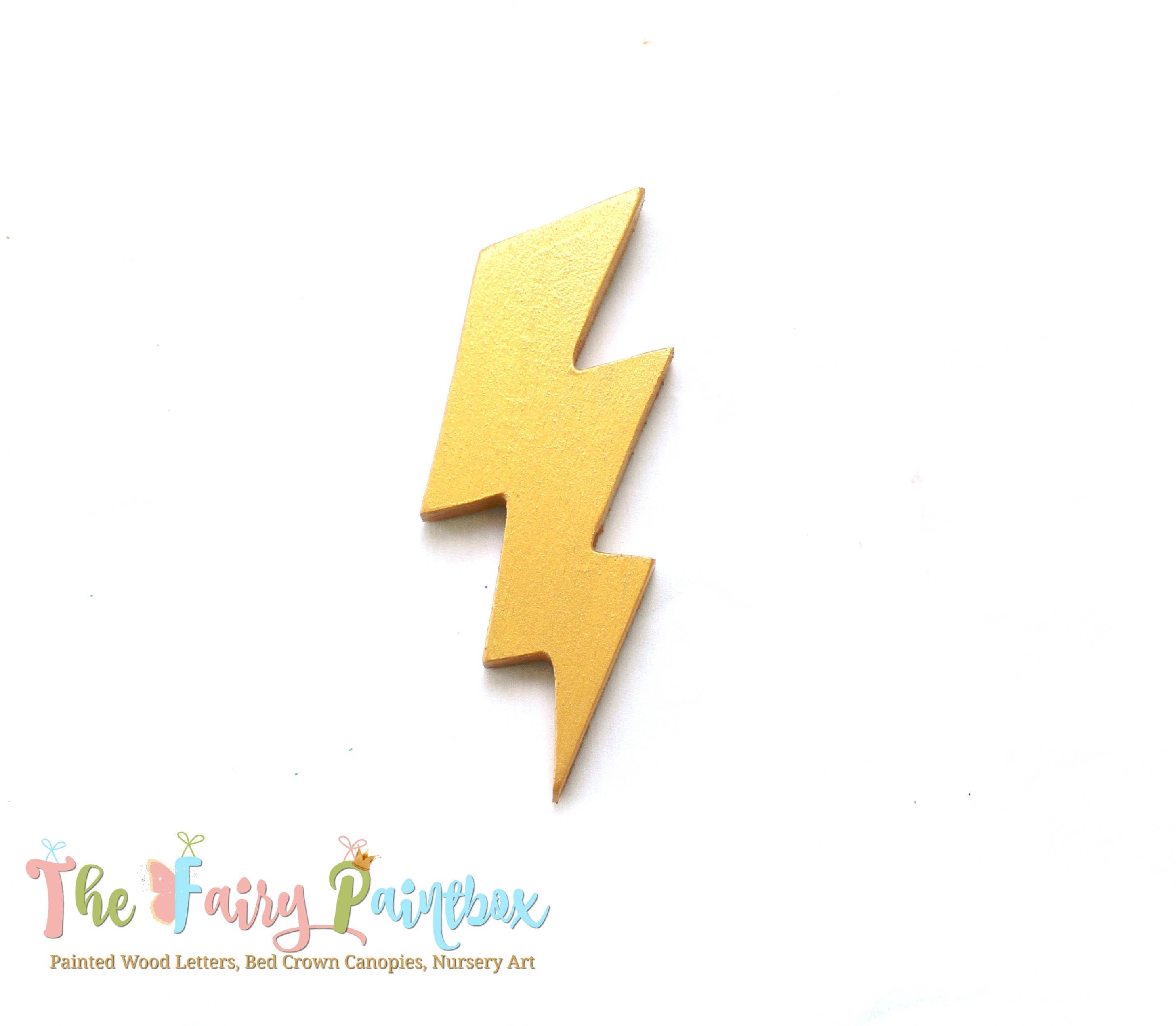 Painted Lightning Bolt Decorative Wood Flash Lightning Bolt | Etsy