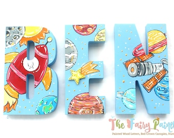 Rocket Ship Outer Space Painted Letters - Boys Nursery Room Letters - Space Ship Sci Fi Nursery Wall Art - Personalized Kids Room Letters