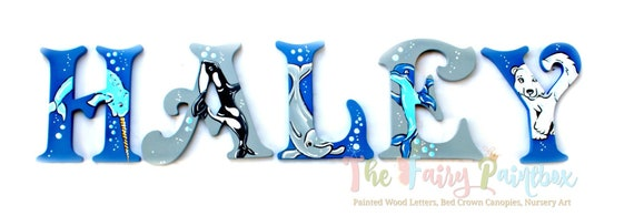 Arctic Nursery Wall Painted Letters Polar Bear Wall Hanging Etsy