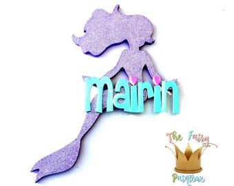Glitter Mermaid Baby Name Sign - Purple Mermaid Nursery Personalized Sign - Girls Nursery Decor Sign - Mermaid Kids Room Sign - Mermaid Sign