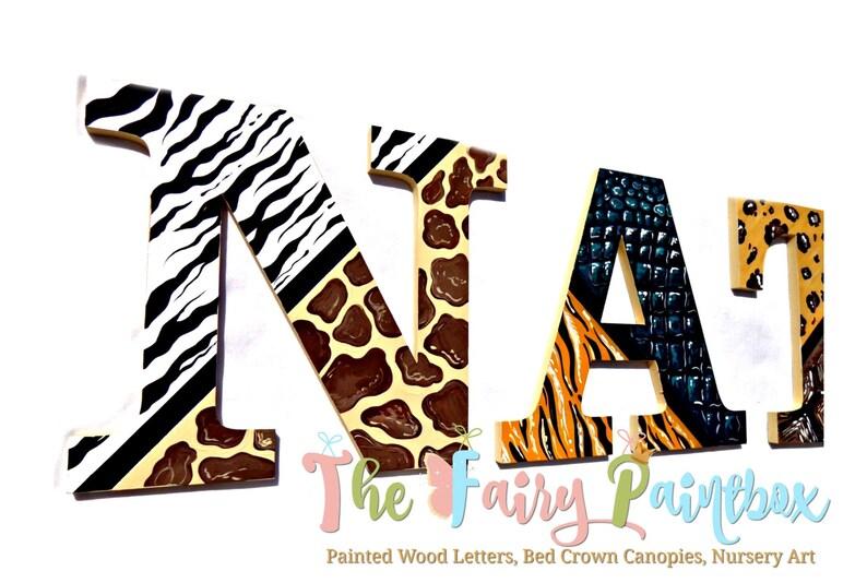 African Animal Print Painted Letters - Animal Print Nursery Wall Letters -  Safari Nursery Room Letters - Baby Name Painted Letters