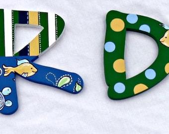 Turtle Reef Painted Letters, Turtle Ocean Nursery Letters, Fish Nursery Wall Hanging, Turtle Nursery, Baby Name Newborn Photo Prop Letters