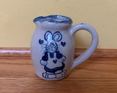 "Vintage stoneware pitcher - small - 3"" tall - rabbit bunny hearts - blue"