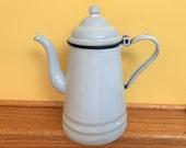 Vintage enamelware coffee pot - white - cobalt blue trim - teapot - tea pot