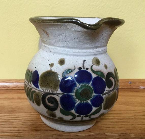 Vintage Tonala mexican pottery - creamer - small pitcher - blue green brown  floral