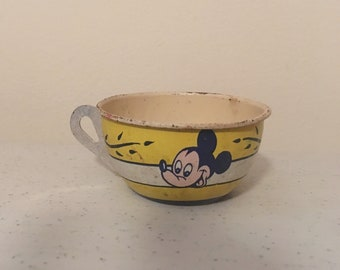 Vintage tin mickey mouse and minnie mouse cup - child's toy