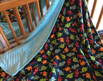 Dinosaur minky blanket