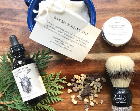 NEW Shave kit with goat milk soap bar, brush, cup, grooming oil and nick salve