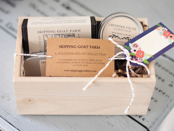 Lavender skincare gift set with calming balm, lotion bar, goat milk soap