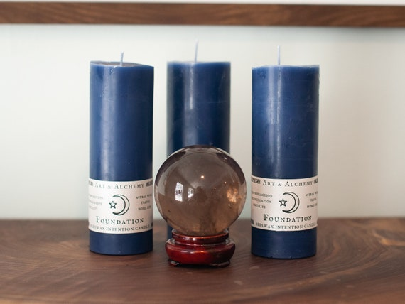 Foundation indigo intention candle for astral work, self-reflection, reconciliation, fertility and home