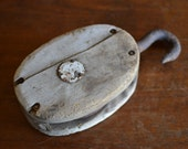 Large Vintage Block Pulley