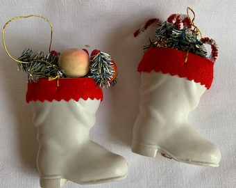 Two Santa Boot Ornaments Vintage Filled