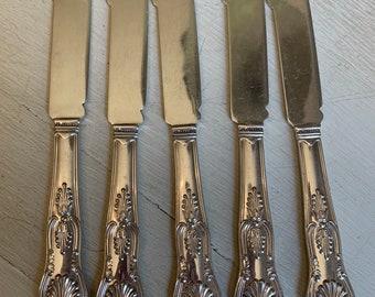 Antique Gorham Kings Fish Knives Sliverplate Set of 5