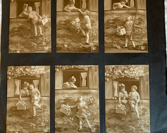 12 Antique Proofs Sepia of Two Children from London