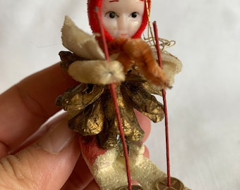 Vintage Pinecone Skier Made in Japan Ornament