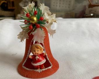 Vintage Flocked Bell with Elves Ornament