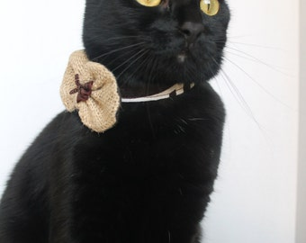 Rustic Cat Bow Tie Collar Accessory in Dark and Light Brown