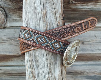Western Leather Inlay Beaded Belt