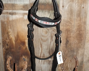 Horse headstall black leather with inlay beads