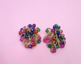 VTG 80s, 90s Multi Color Beaded Cluster Clip On Earrings, Retro, Disco