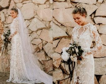 9836009e09d2 Sheer Lace Long Sleeve A-Line WEDDING Maxi Dress Gown Modest LDS Lined W/  Mini Train Saldana Vintage Reese Dress