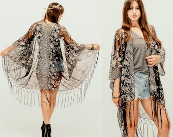 be073ec79502d Boho Festival Sheer Lace Silver Gold Mesh Peacock Feathers Sequins Fringe  Kimono Cocktail Party Kimono Jacket