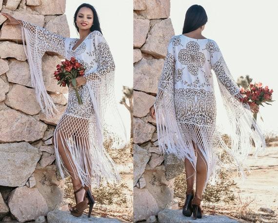 Party dress,Festival outfit Boho Fringe Top Lace fringe dress