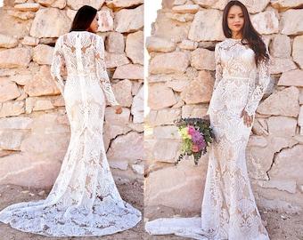 Bohemian Boho Sheer Lace Sequins Long Sleeve Mermaid Hourglass WEDDING Maxi Dress Gown  W/ TrainSaldana Vintage Elopement