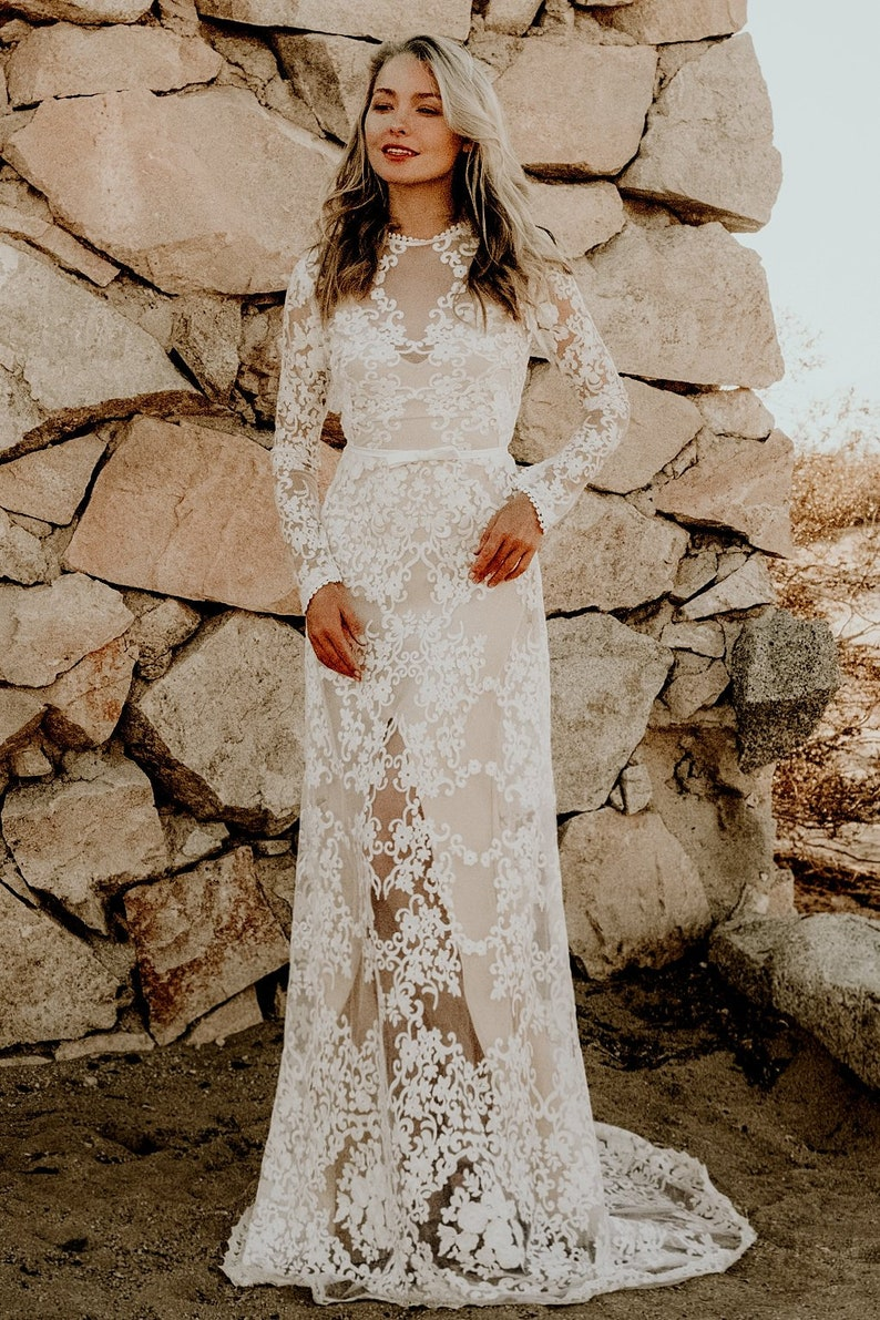 ab002b578646 Sheer Lace Long Sleeve A-Line WEDDING Maxi Dress Gown Modest   Etsy
