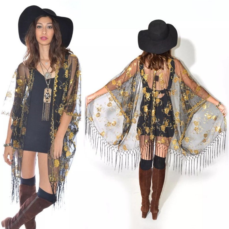 3642d43e2eacb Boho Festival Sheer Lace Gold Sequins Fringe Kimono Cocktail | Etsy